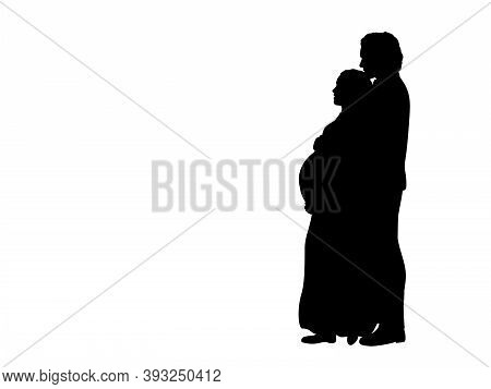 Silhouette Young Couple Expecting Baby. Illustration Graphics Icon Vector