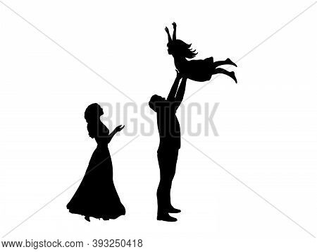 Silhouettes Mother And Father Throws Daughte Up. Illustration Graphics Icon Vector