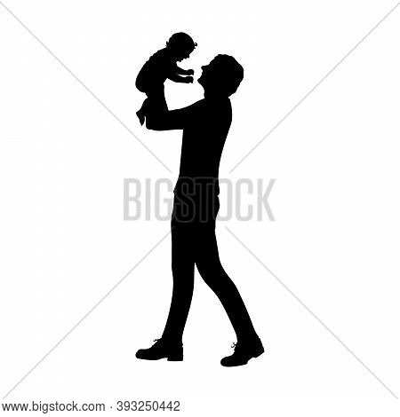 Silhouette Happy Father Holding Newborn Baby In Air. Illustration Graphics Icon Vector