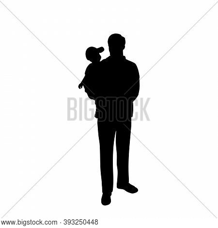 Silhouette Of Happy Father Holding His Son. Illustration Graphics Icon Vector