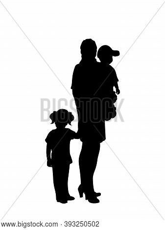 Silhouette Mother With Two Little Children. Illustration Graphics Icon Vector
