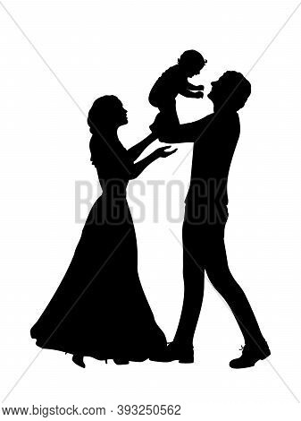 Silhouettes Happy Father And Mother Holding Newborn Baby. Illustration Graphics Icon Vector
