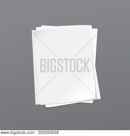 Torn Of White Stacked Blank Note, Notebook Paper Are On Dark Grey Background For Text, Advertising O