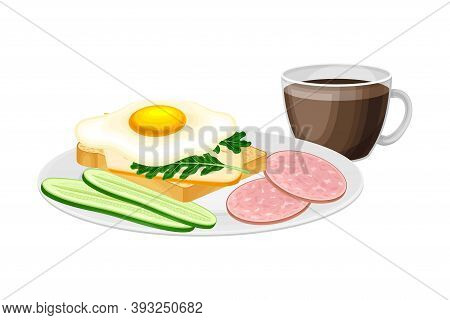Sandwich With Scrambled Egg And Sliced Wurst Served On Plate Vector Illustration