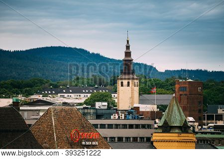 Oslo, Norway - June 12, 2019: View Of Swedish Margareta Church In Skyline. Church Of Sweden In Oslo,