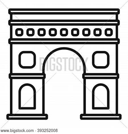 Paris Triumphal Arch Icon. Outline Paris Triumphal Arch Vector Icon For Web Design Isolated On White