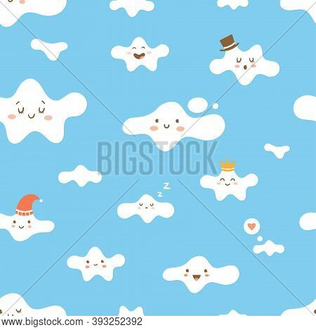 Seamless Pattern With Cute Cartoon Clouds On  Blue Background. Wallpaper With Cloudy Weather. Print