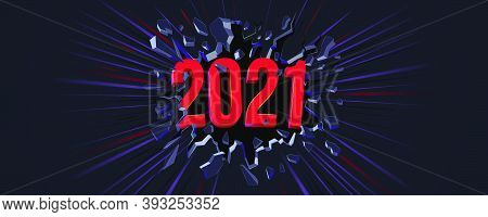 2021 New Year Greeting Card. 3d Text. Black Crack In The Black Wall And Dynamic Line. Web Banner, Fl