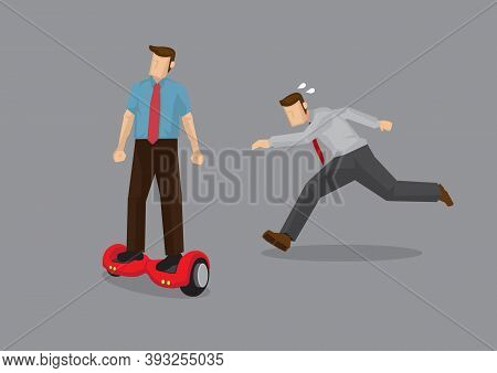 Businessman On Electric Scooter. Faster Than His Competitor. Vector Illustration