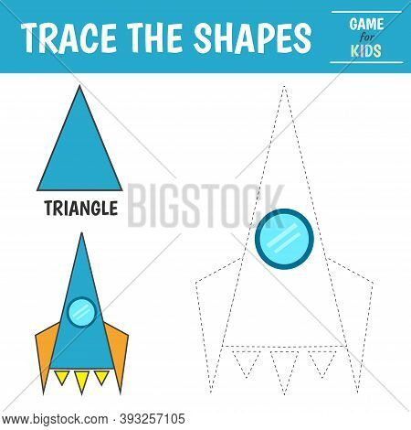 Learn Geometric Shapes - Triangle. Preschool Worksheet For Practicing Motor Skills. Space Ship Of Ge