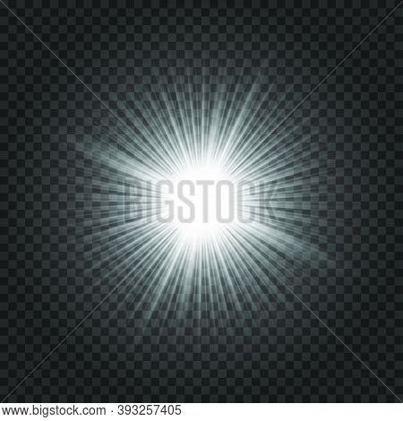 Light Glow Flash Effect. Vector Star Burst On Transparent Background. Magic Shiny Sparkle. Disco Par