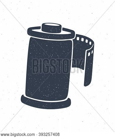 Silhouette Of Photo Film In Cartridge. Vector Illustration. Photographic Roll Film. Pattern For Pack
