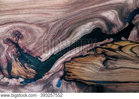 Background With Beautiful Texture Of Wood Surface And Epoxy Resin
