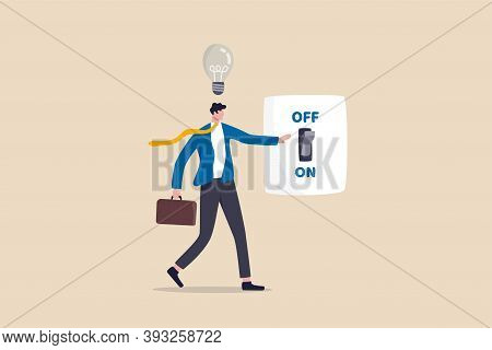 New Business Ideas, Inspiration And Creativity To Think About New Idea Concept, Smart Businessman In