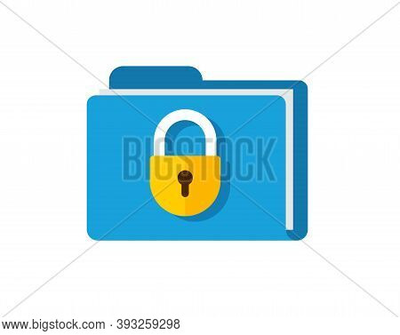Secure Confidential Files Folder With Paper Documents Access And Private Lock Vector Flat Icon, Perm