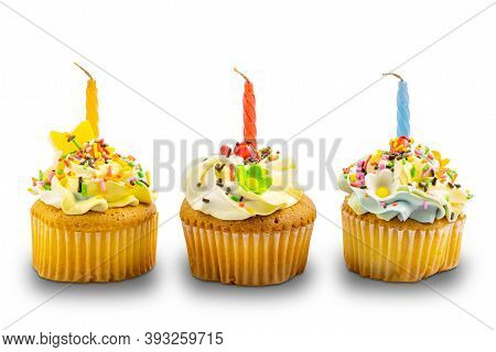 Birthday Vanilla Cupcake Garnished With Butter Cream Frosting Decorated With Colorful Rainbow Sprink