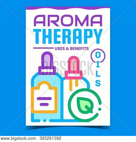 Aromatherapy Creative Promotional Poster Vector. Oils Bottles With Dropper, Aromatherapy Advertising