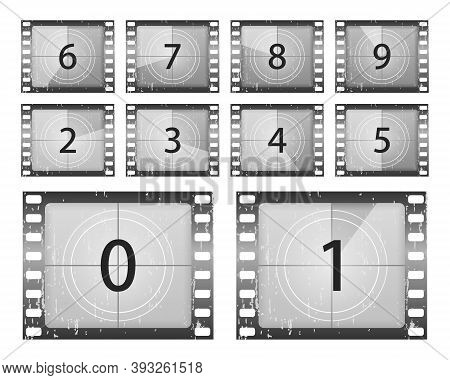 Big Set A Classic Film Countdown Frame At The Number One, Two, Three, Four, Five, Six, Seven, Eight