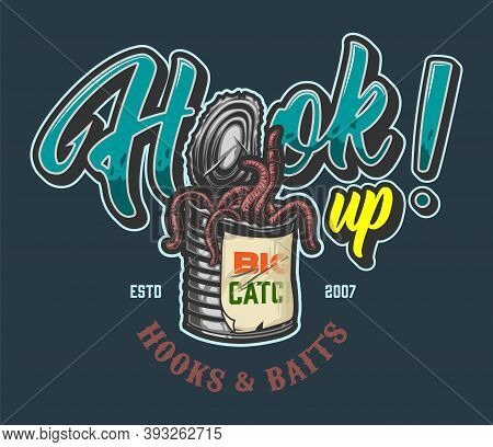 Fishing Vintage Colorful Emblem With Inscriptions And Aluminum Can Full Of Worms Isolated Vector Ill
