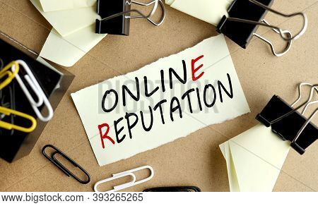 Online Reputation, Text On Yellow Paper On Table