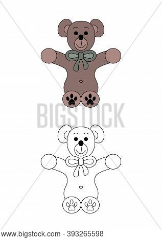 Cute Christmas Teddy Bear. Coloring Page For Kids. Vector Illustration.