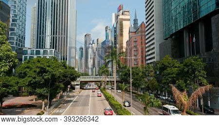 Wan Chai, Hong kong 06 September 2020: Business district in Hong Kong