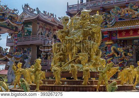Chinese Temple Art In Ang Sila, Chonburi, Thailand Also Known As Wihan Thep Sathit Phra Kitti Chaloe