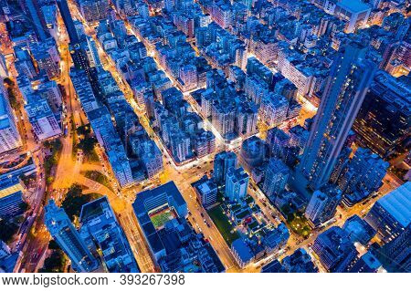 Sham Shui Po, Hong Kong 06 August 2020: Top view of Hong Kong city at night
