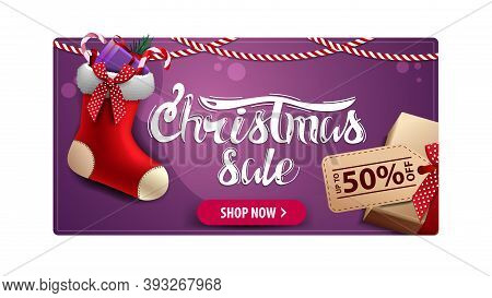 Christmas Sale, Purple Discount Card With Gift With Price Tag And Christmas Stockings