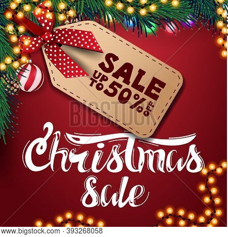Christmas Sale, Up To 50 Off, Red Discount Banner With Garland, Christmas Balls And Christmas Tree B