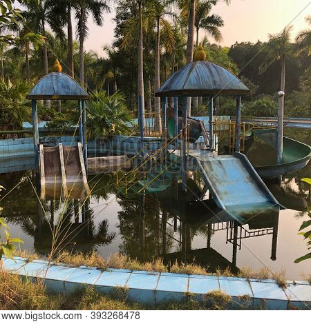 Hue, Vietnam, January 23, 2020, Abandoned Waterpark, Slide and swimming pool left behind, Hue, Vietnam