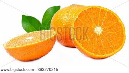 Orange Fruit With Orange Slices And Leaves Isolated On White Background. Natural Valecia Orange Frui
