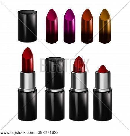 Lipstick Make-up Lips Paint Accessory Set Vector. Collection Of Different Color Lipstick, Fashionabl