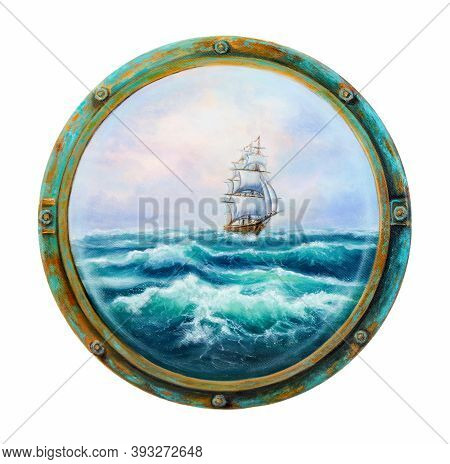 Original Oil Painting Showing  Ship   In  Stormy Ocean Or Sea Seen From Cabin Window Or Porthole On