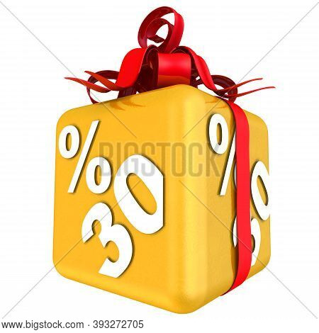 Thirty Percent As A Gift. The Gold Cube With The Inscription Thirty Percent Is Tied With A Scarlet R