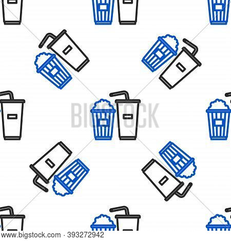 Line Popcorn In Cardboard Box And Paper Glass With Drinking Straw And Water Icon Isolated Seamless P