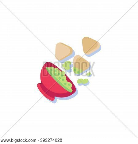 Nachos Chips And Sauce Flat Icon, Vector Sign, Tortilla Chips And Nacho Dip Colorful Pictogram Isola