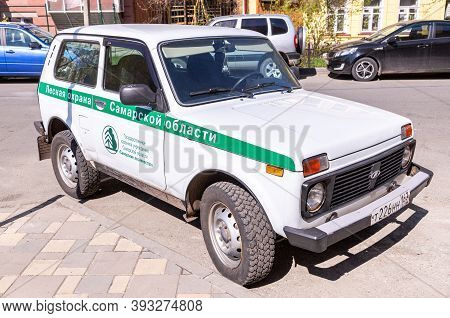 Samara, Russia - May 1, 2019: Vehicle Of The Forest Guard Of The Samara Region. Text In Russian: For