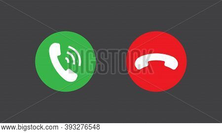 Phone Call Icons Answer And Decline Phone Call Buttons. Vector Illustration Icon. Phone Call. Teleph