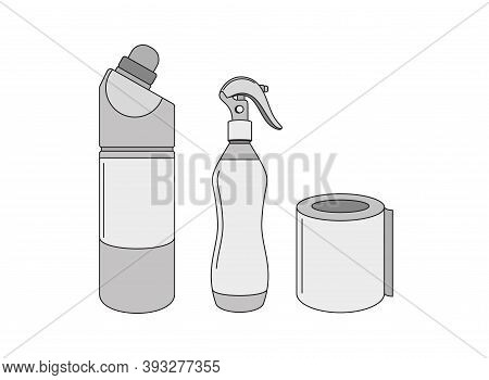Plastic Bottles Cleaners, Paper Roll. Disinfection, Cleaning, Cleanliness. Household Goods - Templat