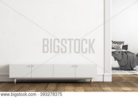 White Empty Interior With Dresser, Door And Decor. 3d Render Illustration Mockup.