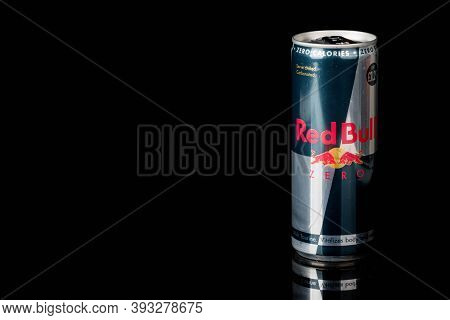 London, United Kingdom, 14th October 2020:- A Can Of Redbull Zero Calories Energy Drink Isolated On