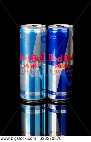 London, United Kingdom, 14th October 2020:- Cans Of Redbull And Sugar Free Energy Drinks Isolated On