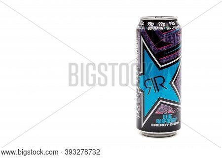 London, United Kingdom, 14th October 2020:- A Can Of Rockstar Blue Raspberry Energy Drink Isolated O