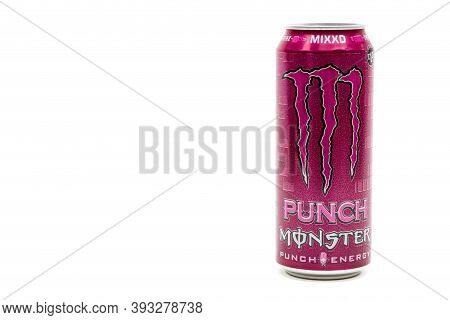 London, United Kingdom, 14th October 2020:- A Can Of Monster Mixxd Punch Energy Drink Isolated On A