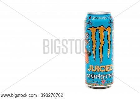London, United Kingdom, 14th October 2020:- A Can Of Monster Mango Loco Energy Drink Isolated On A W