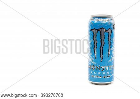 London, United Kingdom, 14th October 2020:- A Can Of Monster Zero Sugar Ultra Blue Energy Drink Isol
