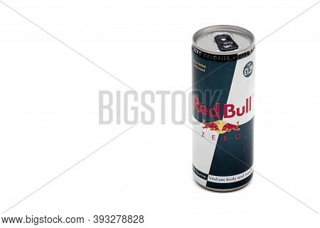 London, United Kingdom, 14th October 2020:- A Can Of Red Bull Zero Calories Energy Drink Isolated On