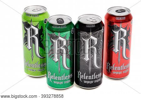 London, United Kingdom, 14th October 2020:- A Selection Of Relentless Energy Drinks Isolated On A Wh