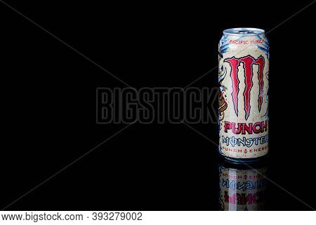 London, United Kingdom, 14th October 2020:- A Can Of Monster Pacific Punch Energy Drink Isolated On
